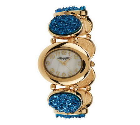 """As Is"" Joan Rivers Oval Simulated Drusy Stretch Watch"