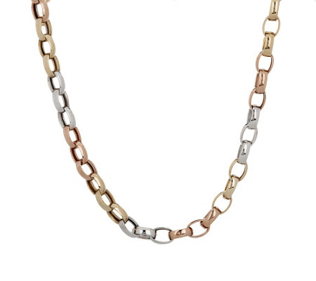 "14K Gold 18"" Polished Oval Rolo Link Necklace, 12.8g"