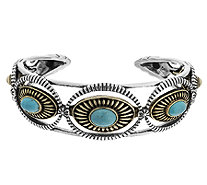 Sterling/Brass Turquoise Average Cuff by Fritz Casuse - J291017