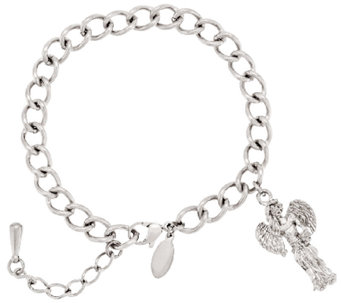 "Stainless Steel ""My Good Angel"" Charm Bracelet - J293517"