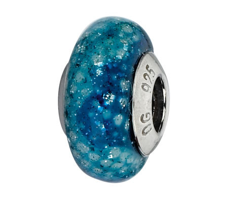 Prerogatives Thin Blue Python Italian Murano Glass Bead