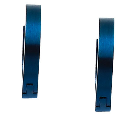 "Stainless Steel Blue-Plated 1/2"" Hoop Earrings"