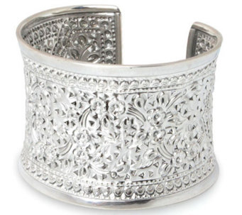 "Novica Artisan Crafted Sterling ""Floral Sparkle"" Cuff - J303917"