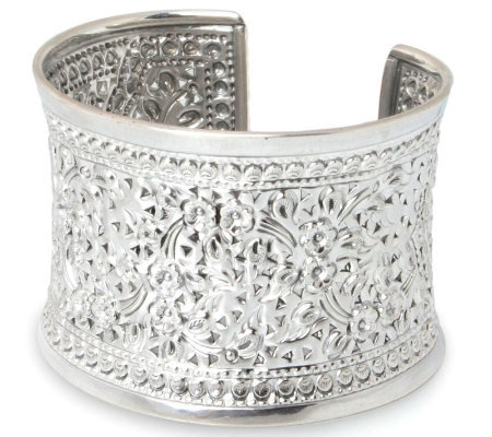 "Novica Artisan Crafted Sterling ""Floral Sparkle"" Cuff"