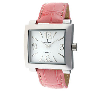 Peugeot Women's Silvertone Pink Leather Strap Watch - J304117