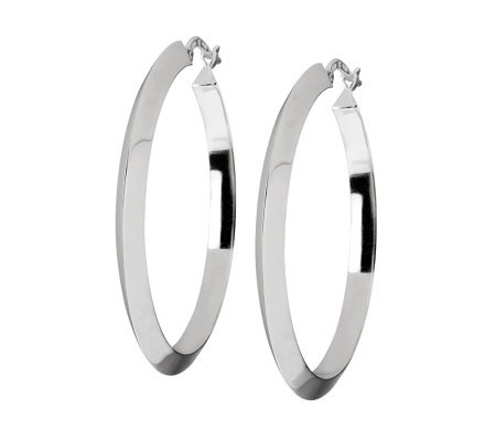 "UltraFine Silver 2"" Highly Polished Round HoopEarrings"