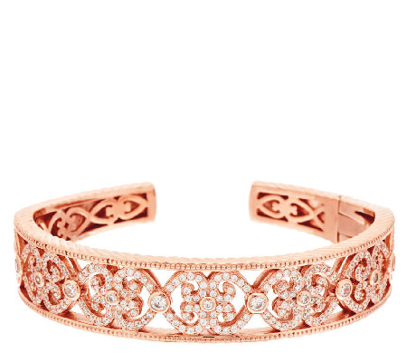 Diamonique Eternal Heart Hinged Cuff, 14K Clad