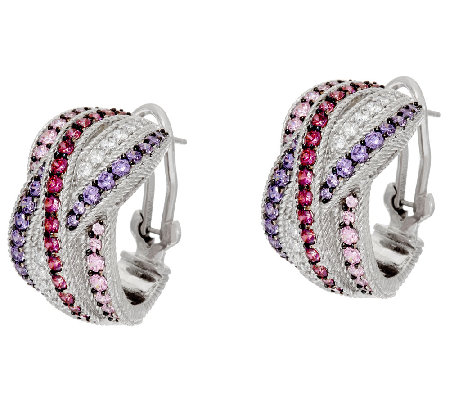 Judith Ripka Sterling 2.40 cttw Diamonique Hoop Earrings