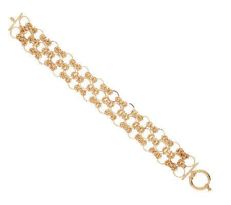 "14K Gold 8"" Triple Row Byzantine Open Link Bracelet, 13.8g"