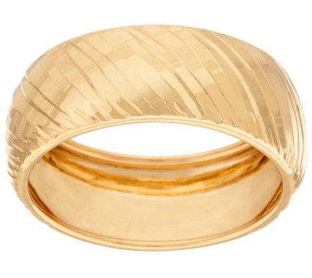 18K Gold 8mm Polished Ribbed Band Ring