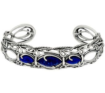 Carolyn Pollack Sterling Silver Marquis Lapis Textured Scroll Cuff - J322617