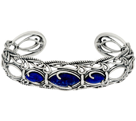Carolyn Pollack Sterling Silver Marquis Lapis Textured Scroll Cuff