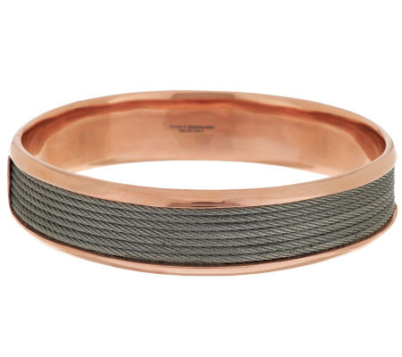 """As Is"" Bronzo Italia Large Stainless Steel Cable Inset Round Bangle"