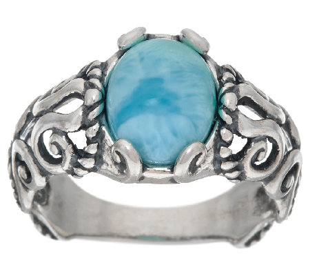 Carolyn Pollack Sterling Silver Oval Larimar Scroll Design Ring