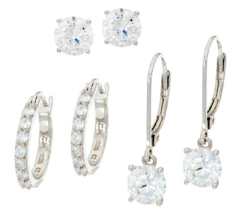 Diamonique Set of Three Earrings, Sterling, Boxed - J324917