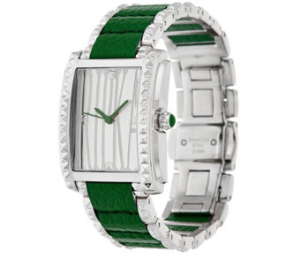Judith Ripka Leather Inset Vogue Watch - J325017