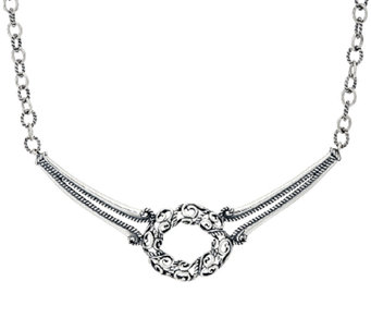 Carolyn Pollack Signature Sterling Silver Oval Scroll Necklace - J325517