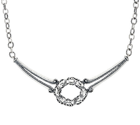 Carolyn Pollack Signature Sterling Silver Oval Scroll Necklace