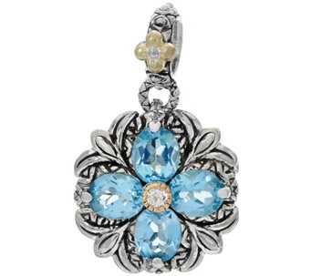 Barbara Bixby Sterling & 18K Gemstone Button Flower Charm - J329117