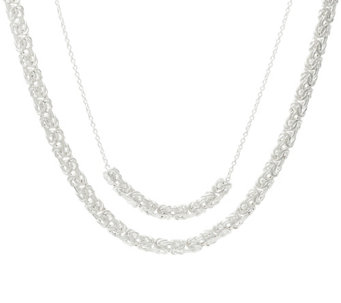 "Sterling Silver Layered Byzantine 16""/18"" Necklace, 13.3g - J329317"