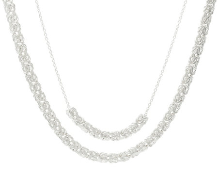 "Sterling Silver Layered Byzantine 16""/18"" Necklace, 13.3g"