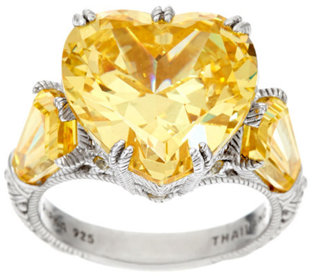 Judith Ripka Sterling 15.30 cttw Yellow Diamonique Heart Ring