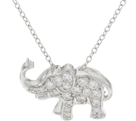 Diamonique Animal Motif Pendant w/ Chain, Sterling