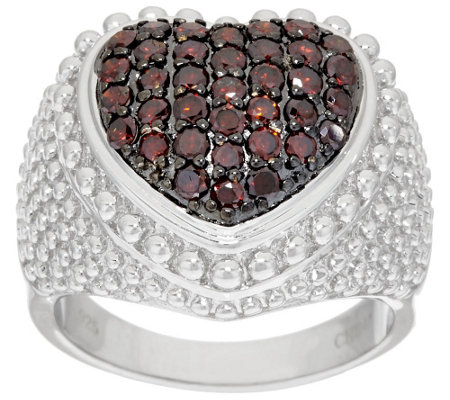 """As Is"" Bold Domed Heart Diamond Ring Sterling 8/10ct tw, by Affinity"