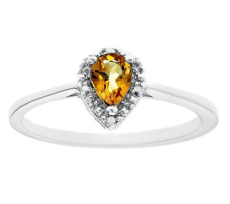 Sterling Pear Gemstone Ring with Diamond Accent