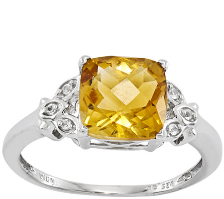Sterling 2.50 cttw Faceted Cushion-Cut CitrineRing