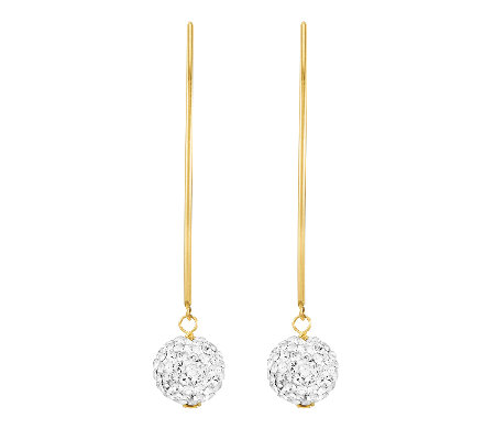 White Crystal Ball Wire Earrings, 14K Yellow Gold