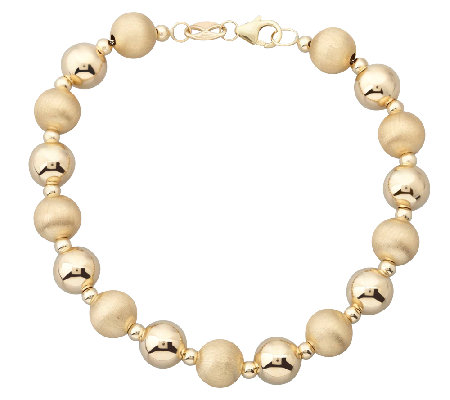 "EternaGold 7"" Polished & Florentine Bead Bracelet, 14K Gold"