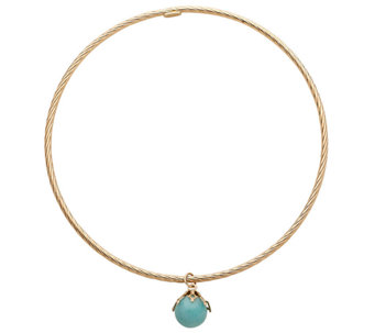 EternaGold Average Gemstone Dangle Bangle, 14K - J337617