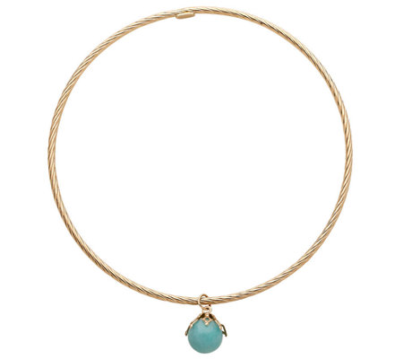 EternaGold Average Gemstone Dangle Bangle, 14K