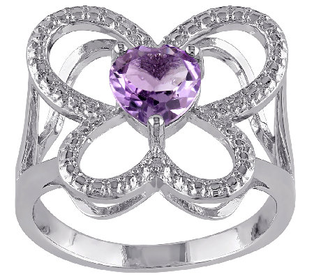 0.65 ct tw Amethyst Open Butterfly Ring, Sterling