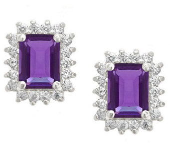 Premier Emerald Cut 1.60cttw Amethyst Earrings,14K - J338217