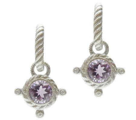 Judith Ripka Sterling Diamonique & Gemstone Drop Earrings