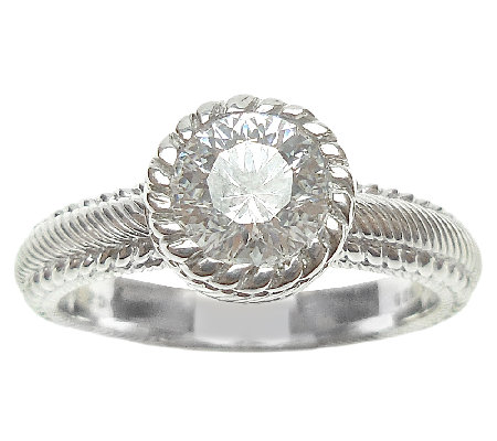 Judith Ripka Sterling 1.10cttw Diamonique Solitaire Ring
