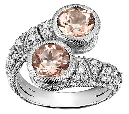 Judith Ripka Sterling  Morganite & Diamonique Bypass Ring