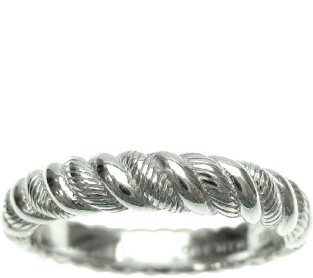 Judith Ripka Sterling Twisted Texture Thin BandRing