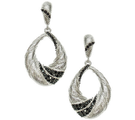 Judith Ripka Sterling Black Spinel Dangle Earrings