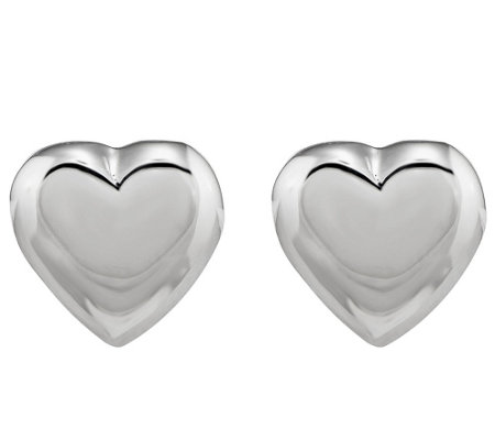 Sterling Silver Puffed Heart Post Earrings by Silver Style