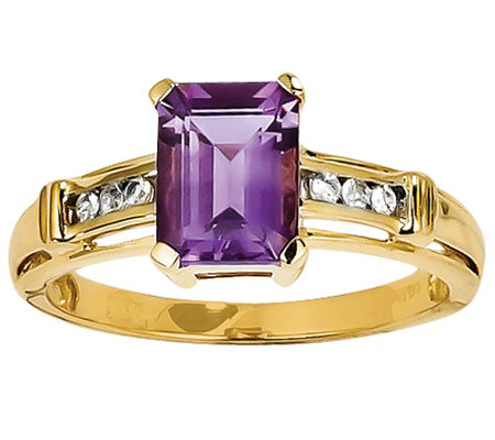 Gemstone and White Topaz Ring, 14K Yellow Gold