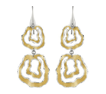 Sterling & 14K Gold-Plated Wavy Circle D angleEarrings