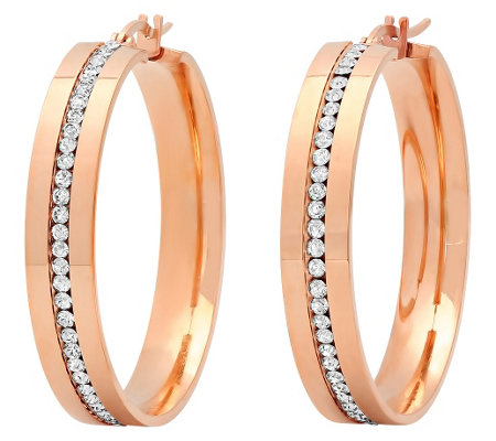 "Stainless Steel Crystal Inlay 1-1/2"" Hoop Earrings"