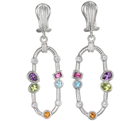 Judith Ripka Sterling and Multi Gemstone DangleEarrings
