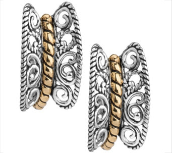 Carolyn Pollack Sterling & Brass Rope Center Earrings - J343817