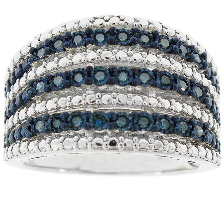 Blue Diamond Wide Band Ring, Sterling, 1/4 cttw, by Affinity