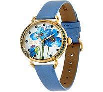 Ecclissi Facets Steel Floral Face Gemstone Leather Watch - J347317
