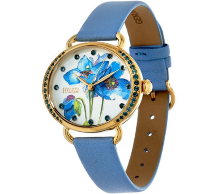 Ecclissi Facets Steel Floral Face Gemstone Leather Watch
